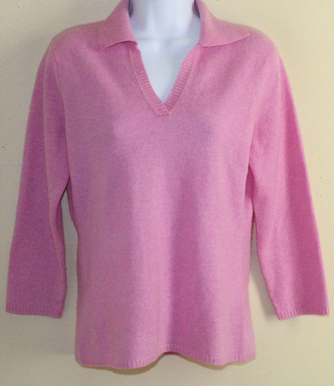 Geneva 100% Cashmere Softest Most Luxurious Pink 3 4 Sweater Sz M MINT