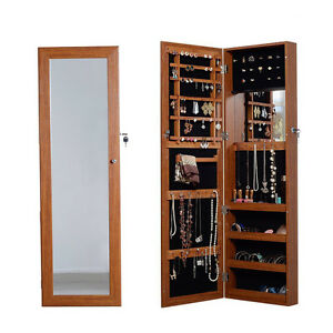 Oak Mirrored Jewelry Armoire Cabinet with Lock Wall Door ...