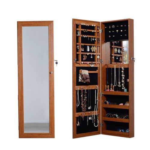 Oak Wall Door Mount Mirrored Jewelry Armoire Organizer Closet
