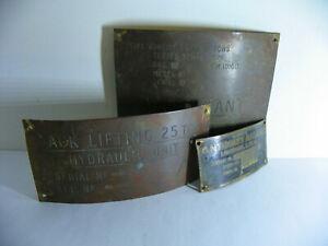 AVRO-Vulcan-25-Ton-Jack-Identification-Plates-3-unique-brass-plates-1968
