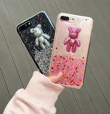 Bling Glitter Cute 3D Bear Soft TPU Case For iPhone 6 6s 7 Plus Protective Cover