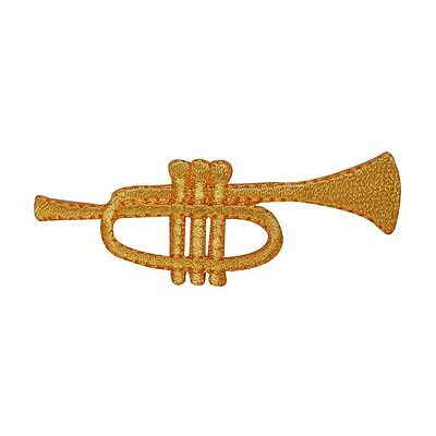 ID 3161 Trumpet Horn Musical Brass Wind Band Instrument Iron On Applique Patch