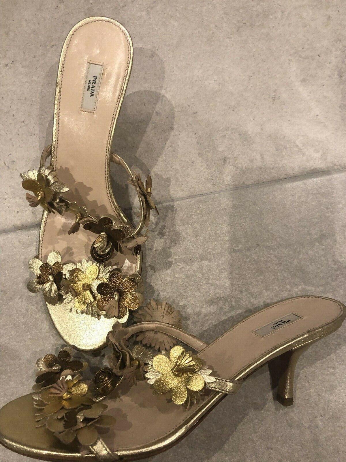 PRADA Leather Gold Flower Decorated Kitten Heel Mules schuhe 38 UK 5