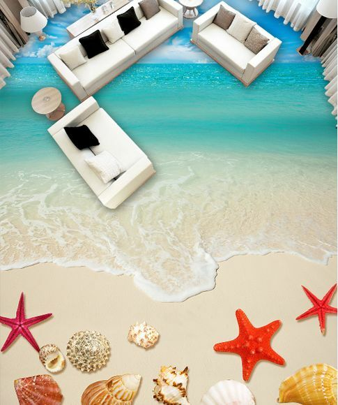 3D Strand Schale Wasser 061 Fototapeten Wandbild Fototapete Bild Tapete Familie