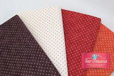 Moda Fabric Essetial Dots 4 Fat Quarter Bundle. Red, Brown, Orange & Cream