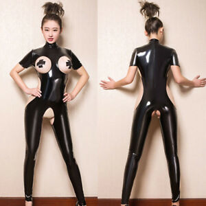 Latex-Catsuit-Bodysuit-Ladies-Club-Costume-Lingerie-Crotchless-Romper-Jumpsu-D