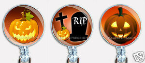 Halloween Pumpkins Badge Reel Retractable ID Name Card Holder