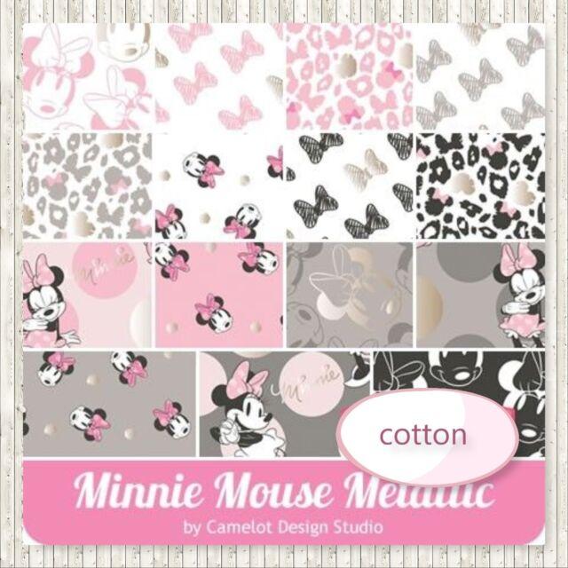Metallic Minnie Mouse Disney  Cotton Fabric Layer Cake 10x10 Squares 42 Pieces