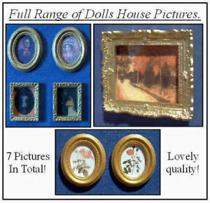 1-12-Dolls-House-miniature-Picture-x7-Mixed-Pictures-Painting-Portrait-wood-LGW