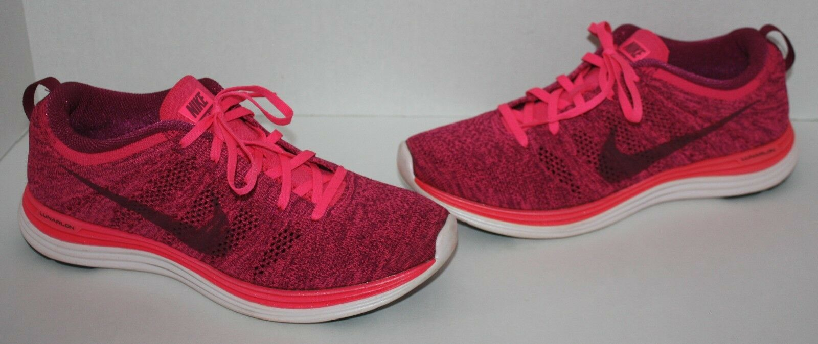 Womens NIKE Flyknit Lunar 1 Neon Pink Violet Athletic Shoes Size 9.5