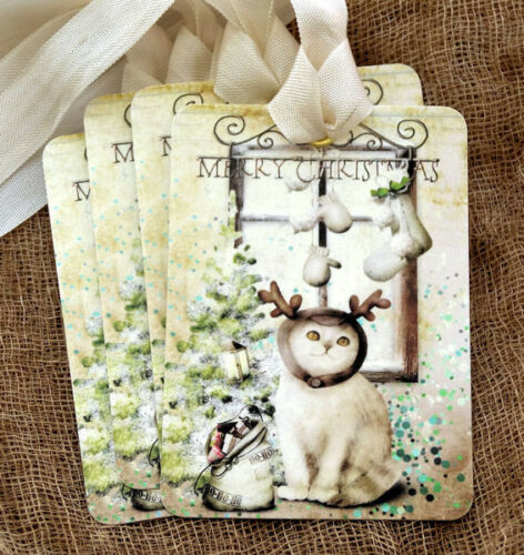 Hang Tags  MERRY CHRISTMAS KITTEN KITTY CAT REINDEER TAGS #490  Gift Tags