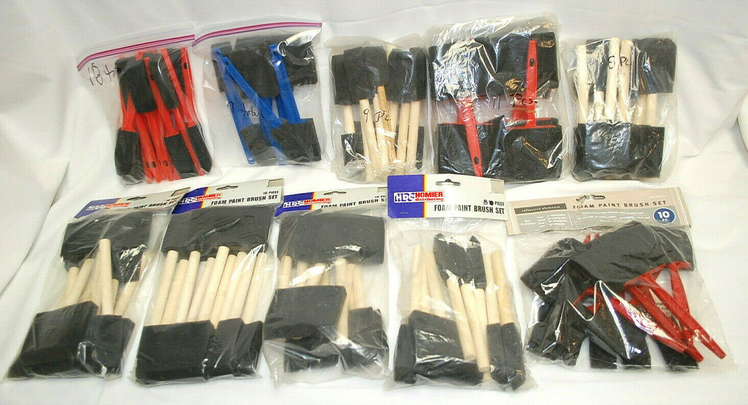 Disposal Foam Paint Brush Sets 5-Different Größes   101-Brushes Total NEW S8828