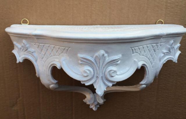 Wandkonsole Weiß Barock Wandregal 30x16 Spiegelkonsole Antik Konsole ablage