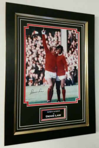NEW Dennis Law of Manchester United Signed Photo Picture Autograph Display