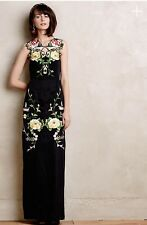 New Anthropologie Flock Together Black Maxi Dress Alice McCall Sz 6 Night Blooms