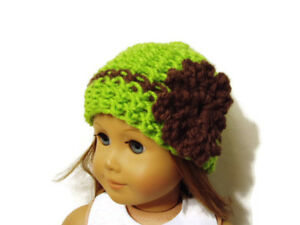 Crochet-Hat-Fits-American-Girl-Dolls-18-034-Doll-Clothes-Green-w-Brown-Flower