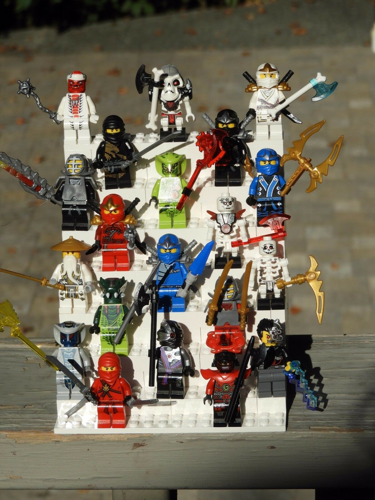 ROTUCED Lot of 20 Ninjago Genuine LEGO Minifigures with Weapons - As Shown -