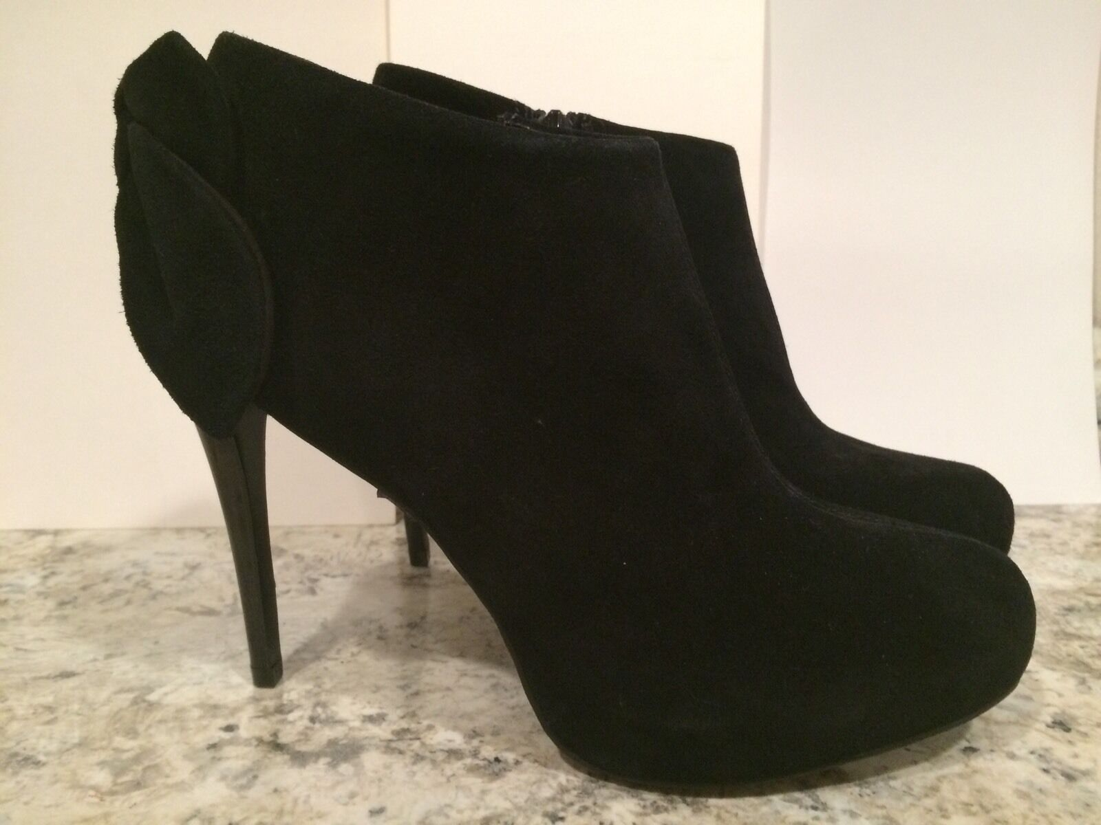 Carlos Santana Crown Fashion Ankle Boots Suede Zip Heel Bow Black 9.5 M New