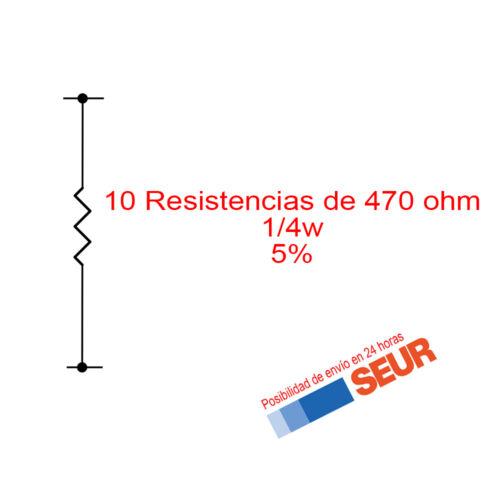 10X Resistencias de carbon 470 Ohm 1//4W 0,25W 5/%