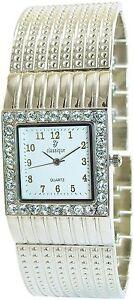 Damenuhr-Weiss-Silber-Strass-Analog-Metall-Armbanduhr-D-50742425555350