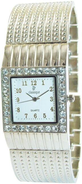 Damenuhr Weiß Silber Strass Analog Metall Armbanduhr D-50742425555350