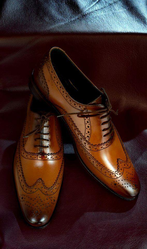 Handmade Mens Tan color wing tip shoes, Men brogue formal shoes, Men dress shoes