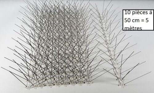 5 rangées de pointes en acier inoxydable Pics anti pigeons 10 pc 5m