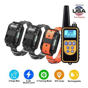 875Yards Remote Electric Dog Shock Collar Pet Anti-Bark Training Waterproof IP67
