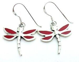Libelle-Ohrringe-Rot-925er-Sterlingsilber-Dragonfly-Damen-Kinder-Ohrhaenger-Neu