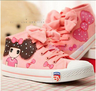 Womens cute bow high-top canvas shoes cartoon Pattern girls student sneakers