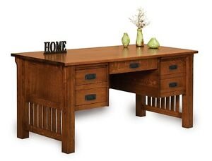 Image Is Loading Amish Mission Craftsman Writing Computer Desk Office  Furniture