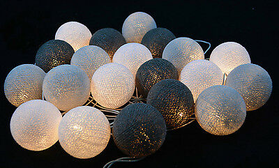 White,White Smoke, Gray  Cotton Ball String Lights Fairy lights Party