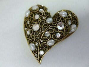 Vintage Rhinestone and Antiqued Gold Tone Brooch