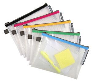 5er PVC Reißverschlusstasche A4 A5 B5 A6 B6 Reißverschlussbeutel Datei Taschen