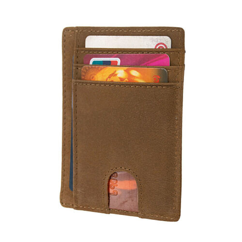 Slim Card Holder Wallet Mens Minimalist Front Pocket Leather RFID ID Credit Case