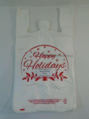 "Happy Holiday Snow Globe Plastic T-Shirt Shopping Bags Handles 11.25/""x 6/"" x 21/"""