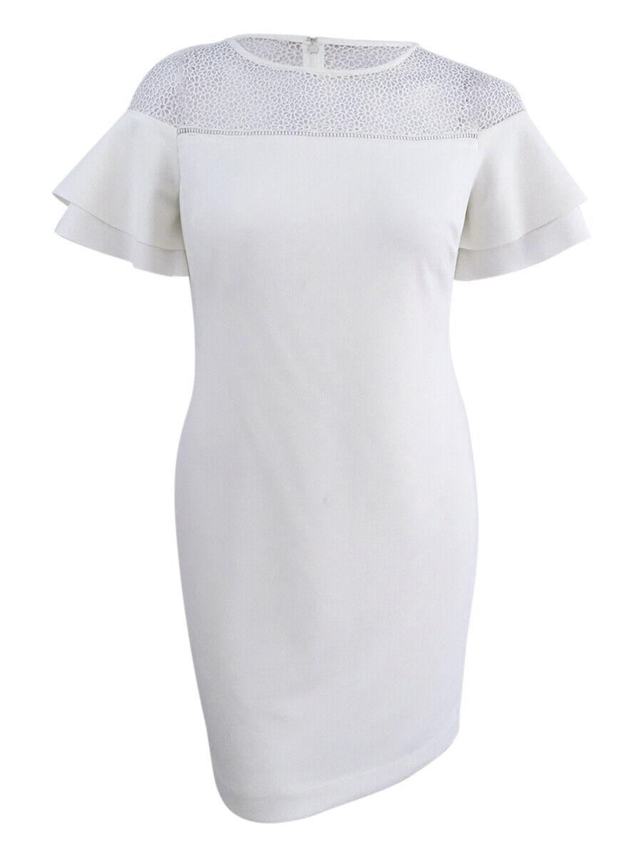 Lauren de Ralph Lauren damen& 039;s Floral-dentelle Flutter-manches robe (10, Crème)