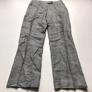 JJB-Benson-Gray-Black-100-Linen-Trouser-Pants-Size-40-32-Waist-A1011