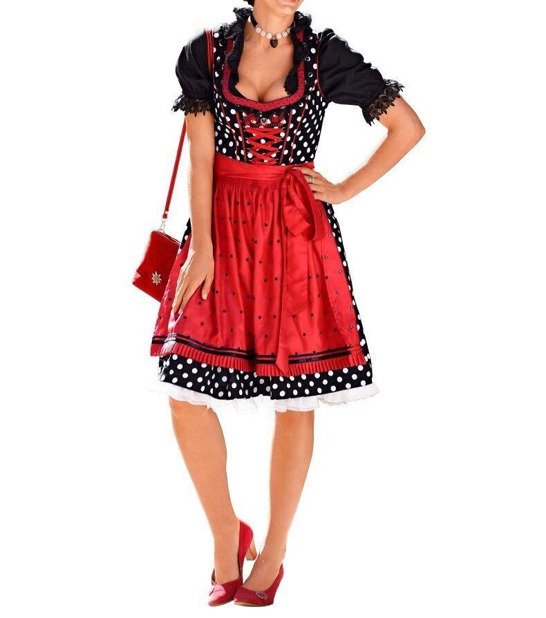 DIRNDL DIRNDLKLEID TRACHTENKLEID KLEID  schwarz weiß rot rot rot Gr. 46  | Sonderkauf  | Verschiedene aktuelle Designs  | Klein und fein  ac4535