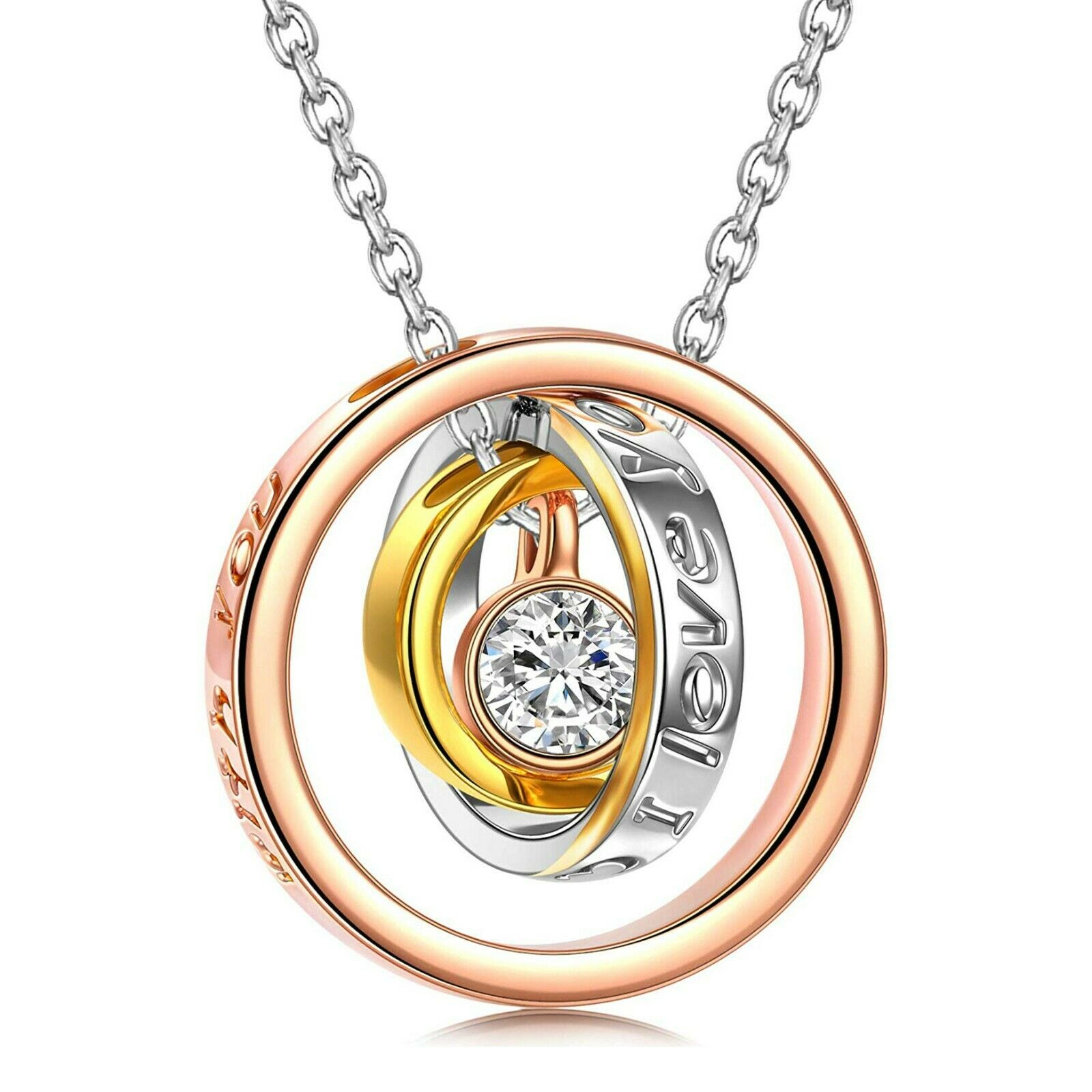 IIUUGG Rose Gold Necklace Women Crystals Pendant Necklace Crystal Heart Necklace Women Jewelry Love Gifts