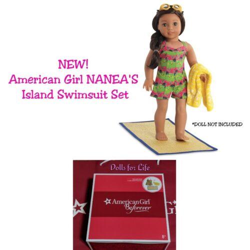 American Girl Nanea Island Swimsuit Swim suit Mat Towel Goggles DOLL size NEW!