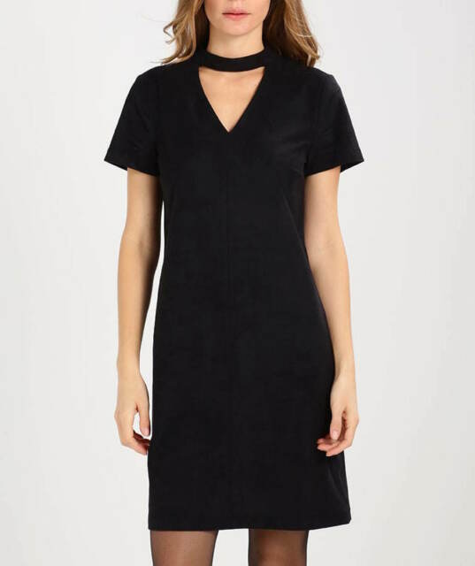 Esprit Black Party Mini Stretch Dress Faux Suede Zalando, Small