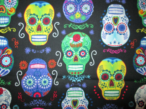 SKULLS SUGAR SKULLS DAY OF THE DEAD PACKED BLACK COTTON FABRIC FQ