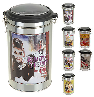 Hollywood Movie Film Design Storage Tins Cannisters with Clip Lock 6 Designs