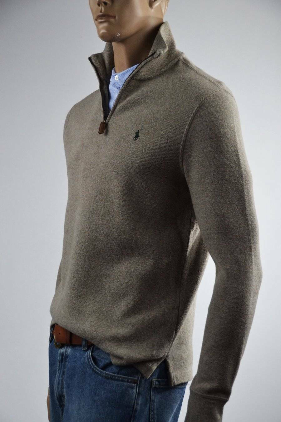 Ralph Lauren French-Ribbed Heather Brown Half-Zip Sweater bluee Pony- Small-NWT