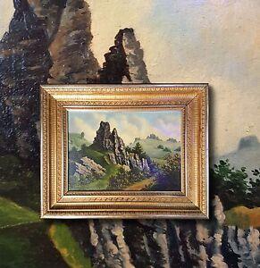 Felsige-Landschaft-in-den-Bergen-Original-altes-Olgemaelde-Prunkrahmen