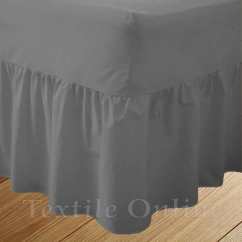 Plain Fitted Valance Sheet Poly Cotton Extra Deep Frilled Bed Sheet In All Sizes