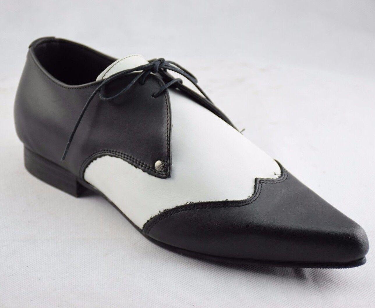 Scarpe di terra in acciaio Nero Bianco Pelle Stringati Stivali Scarpe Casual Sb005