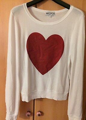 100% QualitäT Wildfox Sparkle Heart Pullover - Herz - Weiß Damen S