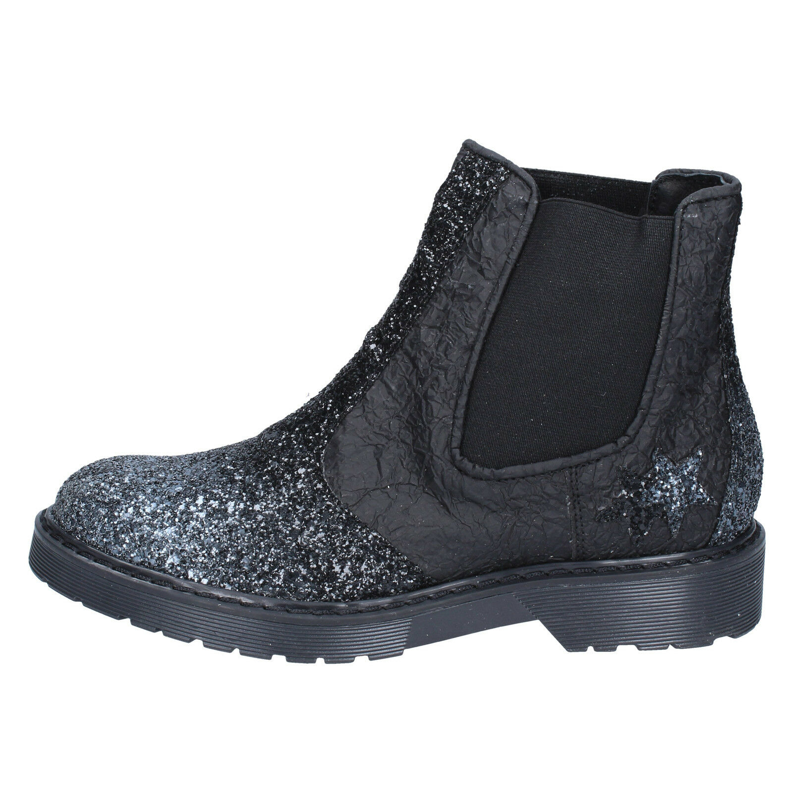 Women's shoes 2 STAR 7 (EU 37) ankle boots black leather glitter BX374-37